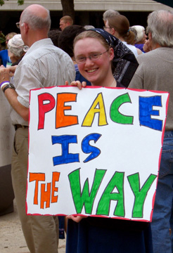 Christine Wilkinson at Peace Rally in Des Moines, Iowa.