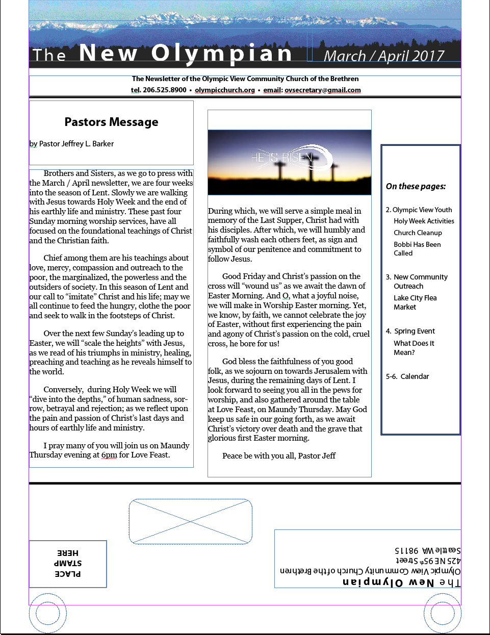 Front Page March April Newsletter