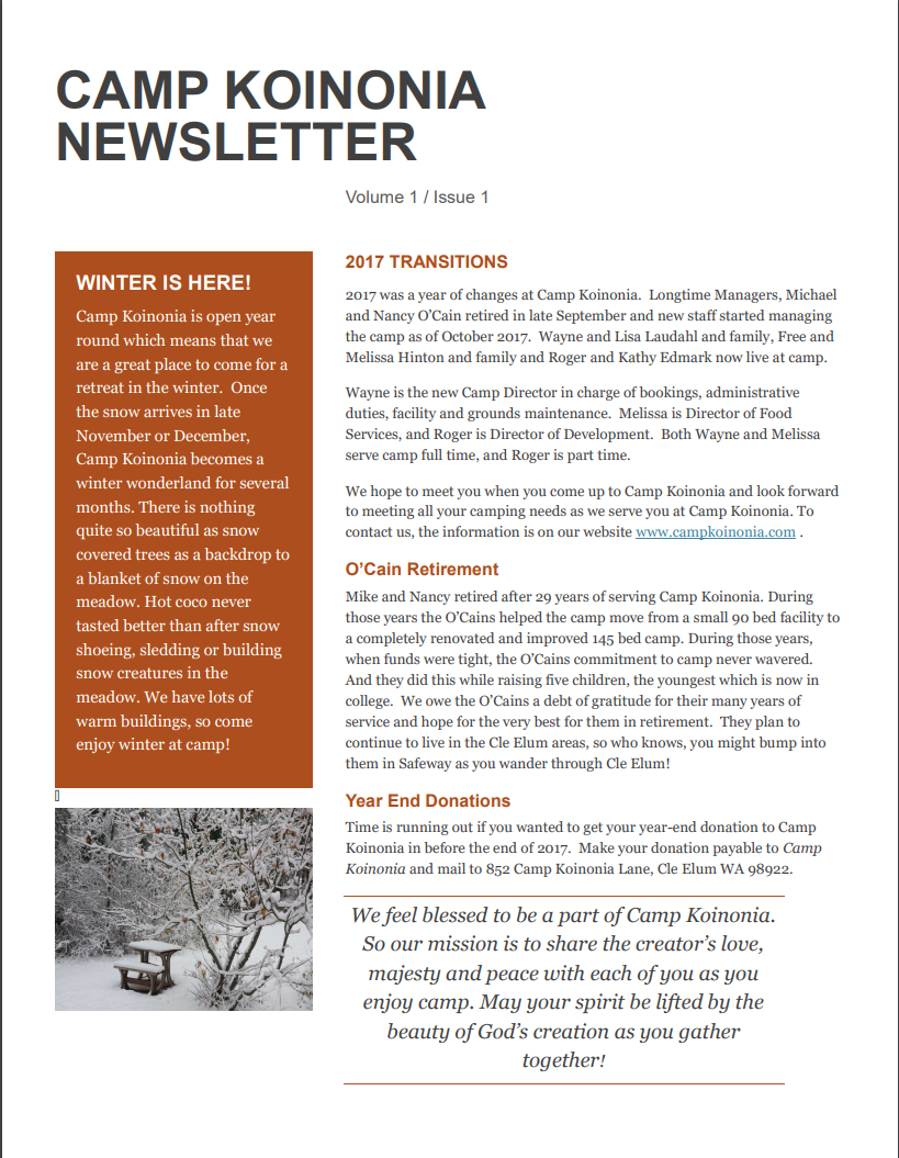 Kononia Newsletter
